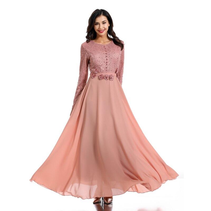 Élégant rose Abaya turquie musulmane longue Robe femmes en mousseline de soie Caftan Qatar Robe Dubai Caftan Marocain Elbise Jubah vêtements islamiques