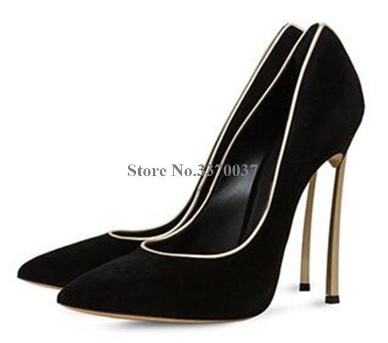 Zapatos de vestir formales de tacón de aguja de Metal con punta puntiaguda para mujer de diseño de marca zapatos de boda, zapatos - 5