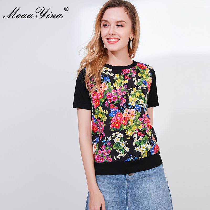MoaaYina Designer Autumn Short Sleeve Black Knitting Tops Womens  Elegant Floral Print Silk Sweater Tees PulloversPullovers   -