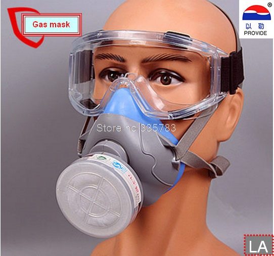 1PCS gas mask + goggles Chemical Gas Respirator Face Masks Filter Chemical Gas Protected Face Mask with Goggles 1pcs double gas mask chemical gas respirator face masks filter chemical gas protected face mask with goggles
