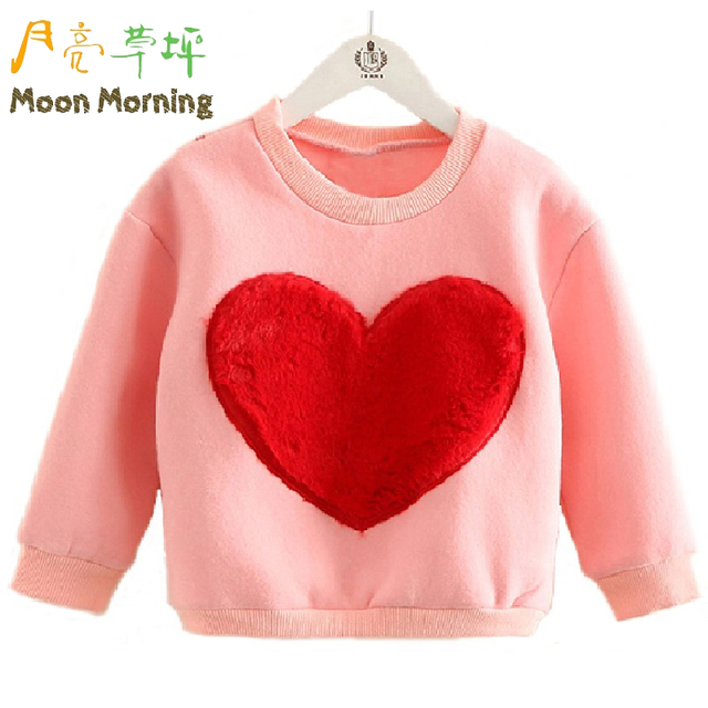 Moon Morning Kids Hoodies Cotton Love Heart Pattern Patchwork Long Sleeve Autumn Girls Sweatshirts Pink Good Quality Pullover
