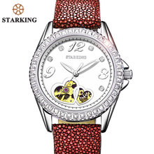 STARKING Top Brand Women Watch Auto Mechanical Wristwatches Luxury Stingray leather Strap Rose Gold Automatic Wrist Watch AL0128