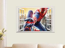 Spiderman Background False Window 3D Childrens Room Decor Wall Sticker Vinyl Decal Art Mural