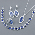 Blue Created Sapphire White Topaz Jewelry Sets For Women 925 Sterling Silver Bracelets Necklace Pendant Ring Earrings Free Box