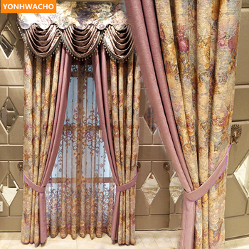 Custom curtains European luxury romantic warm garden cotton linen French cloth blackout curtain tulle valance drape N962