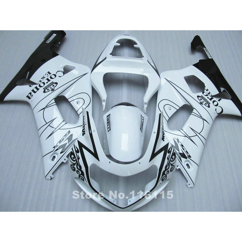 motorcycle fairing kit fit for SUZUKI GSXR600 GSXR750 K1 2001 2002 2003 white black Corona fairings GSXR 600 750 01 02 03 A415 lowest price fairing kit for suzuki gsxr 600 750 k4 2004 2005 blue black fairings set gsxr600 gsxr750 04 05 eg12