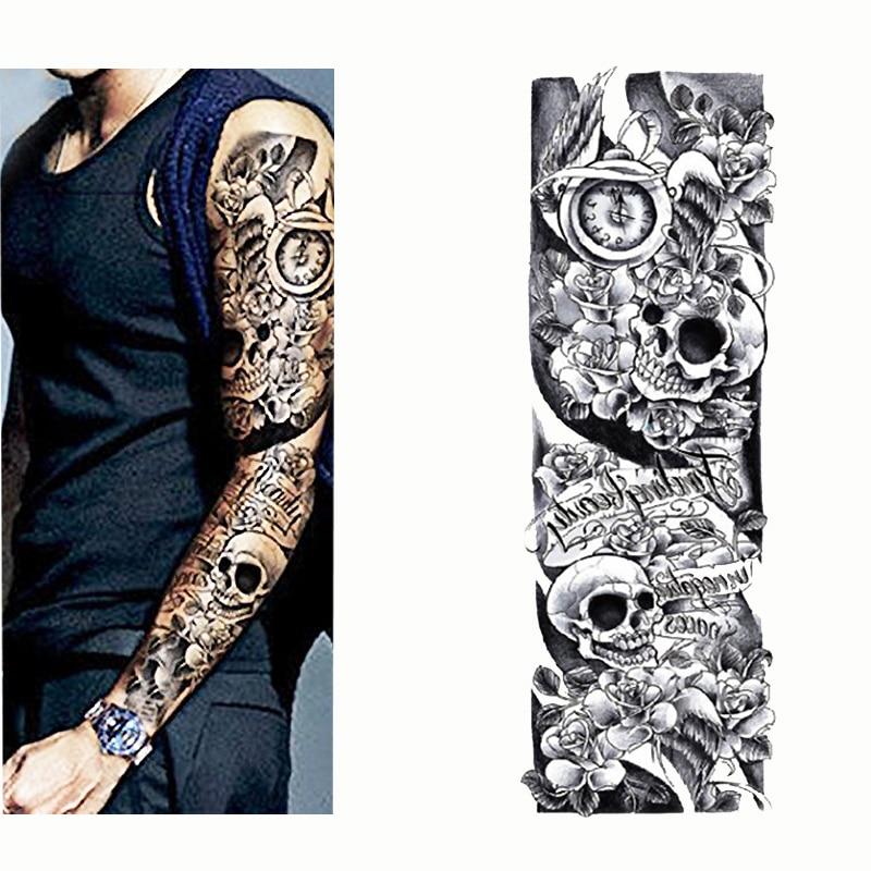 2017 tatouage temporaire autocollant cr ne horloge plein fleur de tatouage avec bras corps art. Black Bedroom Furniture Sets. Home Design Ideas
