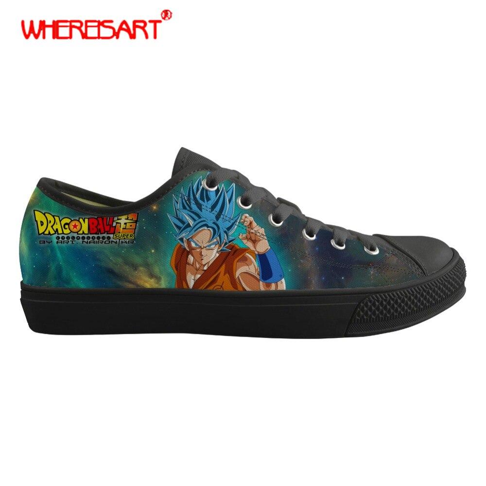 100% Wahr Whereisart Dragon Ball Z Drucke Schuhe Männer Low Top Vulkanisierte Schuhe Anime Cartoon Schwarz Leinwand Schuhe Für Männer Teens Junge Sneaker Zu Hohes Ansehen Zu Hause Und Im Ausland GenießEn