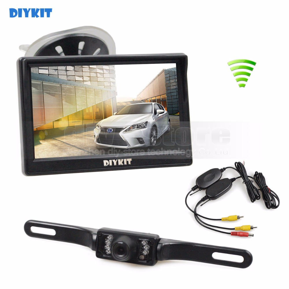 DIYKIT Wireless Car Van Truck Parking IR Night Vision Reversing Camera + 5 Inch Car Monitor Rear View Security System цены