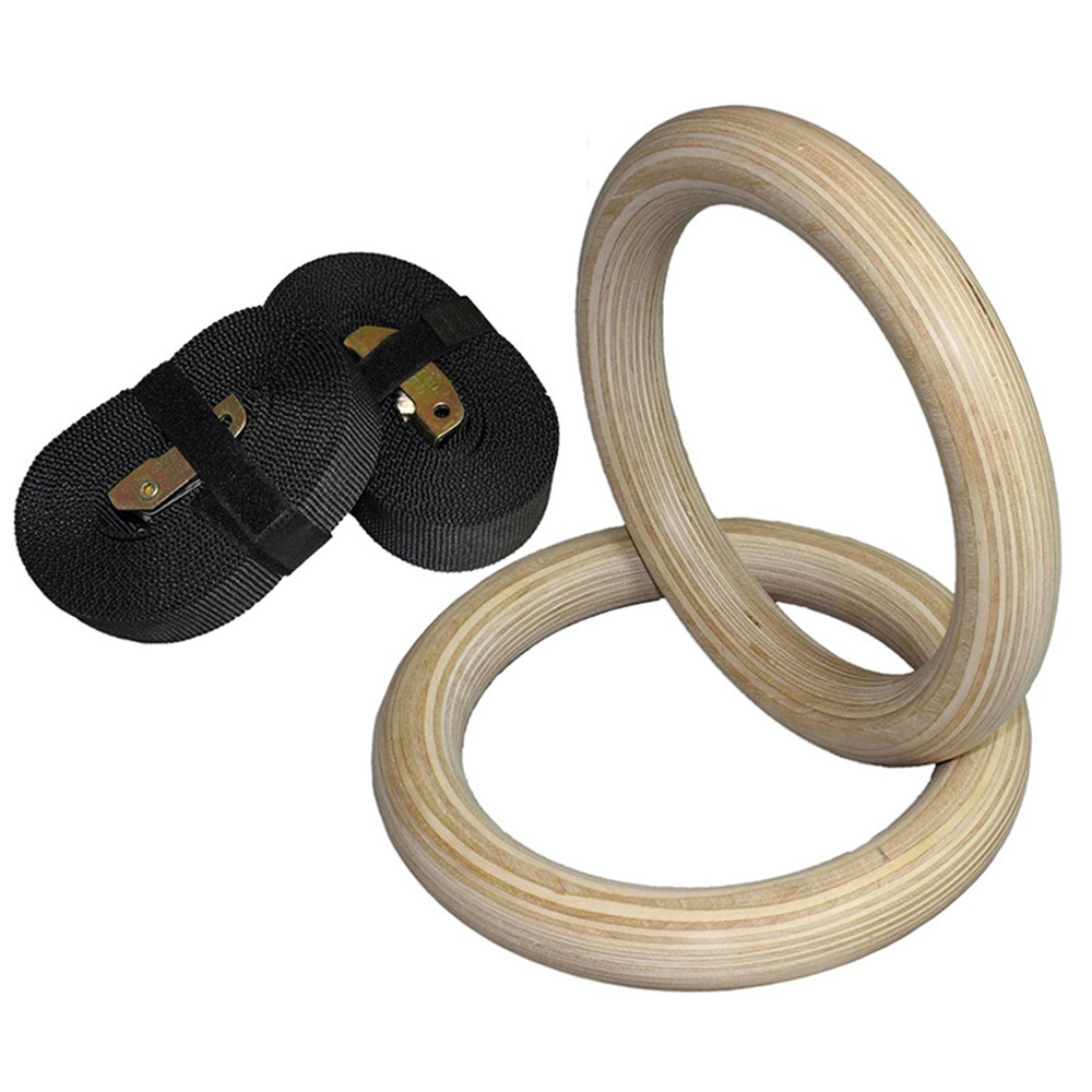 Birch Wooden DIA:235MM Exercise Fitness Gymnastic Rings Sets Gym Hand Rings Exercise Crossfit Pull Ups Muscle Ups EF0005
