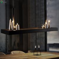 American Loft Matte Black Metal Led Pendant Light Retro Villa Unique Candle G4 Pendant Lamp For