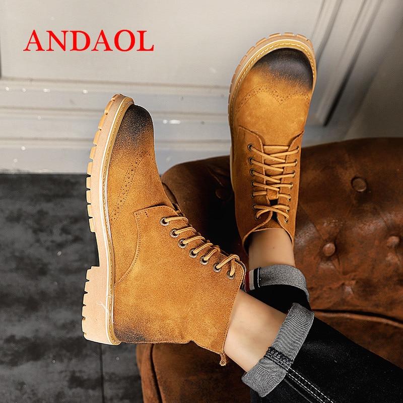 Tira Homens Botas Tornozelo Novo Quente Superior Luxo Amarelo Sapatos Andaol Neve Couro Deserto Com No Qualidade Toe Rodada Oxfords Confortáveis Dos De Genuíno OPxdqwcFdE