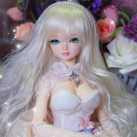 Pretty 18inchs BJD Doll With Silver Long Hair And Sexy Dress Movable Body Joint Doll For Sale Good Choice Gift For Girl To DIY