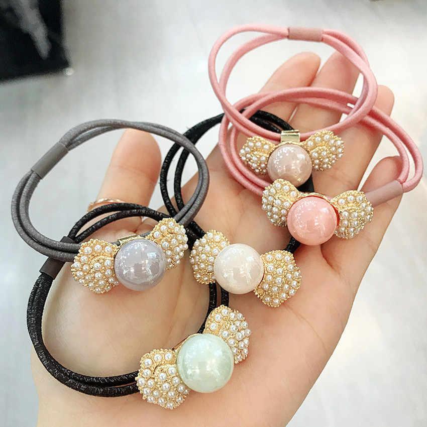 Accesorios coreanos para el cabello para mujer, soporte de cola de caballo, cuerda de pelo bonita, perlas de imitación, banda elástica para el cabello para niña