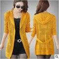 Mujeres de la chaqueta de Primavera y otoño nuevas Mujeres Coreanas delgada delgada hollow thin sweater cardigan jacket envío gratis