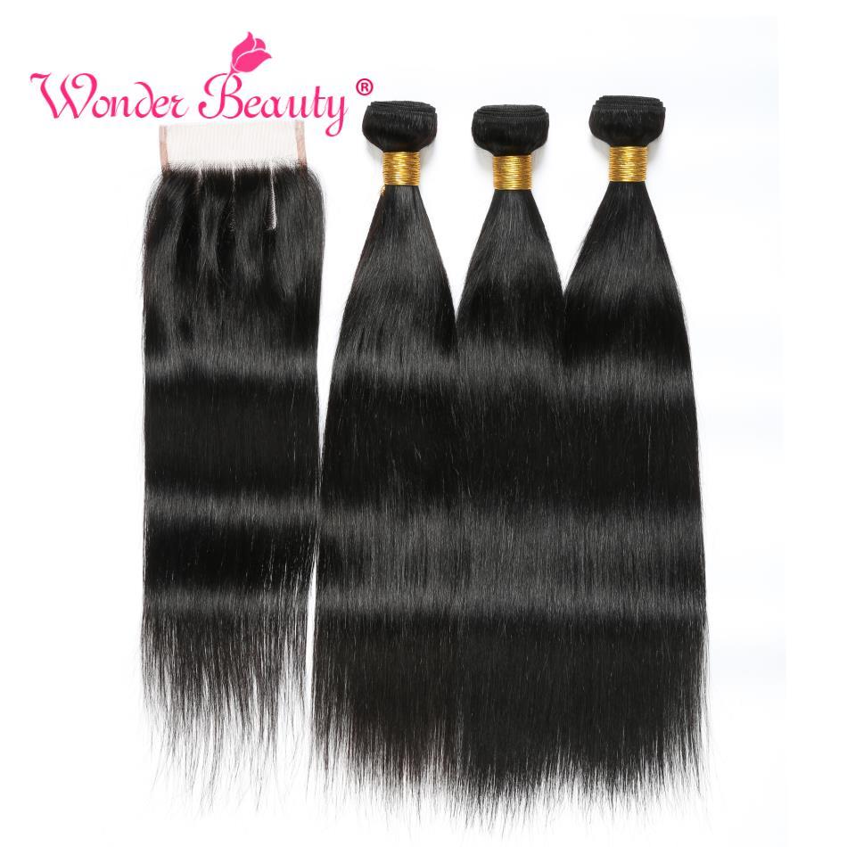 Wonder Skønhed ikke remy Peruvian straight hair med lukning hår - Menneskehår (sort)