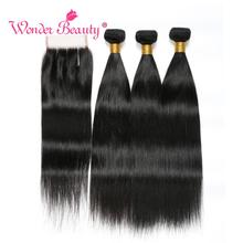 Peruvian Straight Hair Bundles With Closure Wonder Beauty Human Non Remy Extenstion Fast Shipping