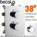 Бесплатная доставка смеситель для душа с термостатом смесительный клапан 2 или 3 способа скрытый легко монтируемый ящик латунный скрытый кл...