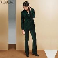 2 Piece Set 2018 Drak Green Velvet Women Elegant Pants Suits Work Wear Formal Slim Double Breasted Ladies Trousers Office Suits