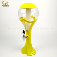 Yellow 3 Liters Ball Shape Beer Tower Dispenser with LED Light Ice Tube BT74
