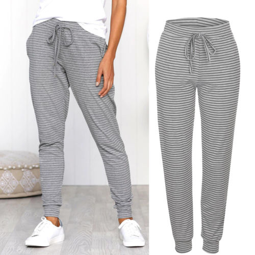 93a723e610e9f Detail Feedback Questions about New Casual Women pants Fashion striped lace  up High Waisted Soft Skinny Stretchy Pants Slim comfortable pants on ...