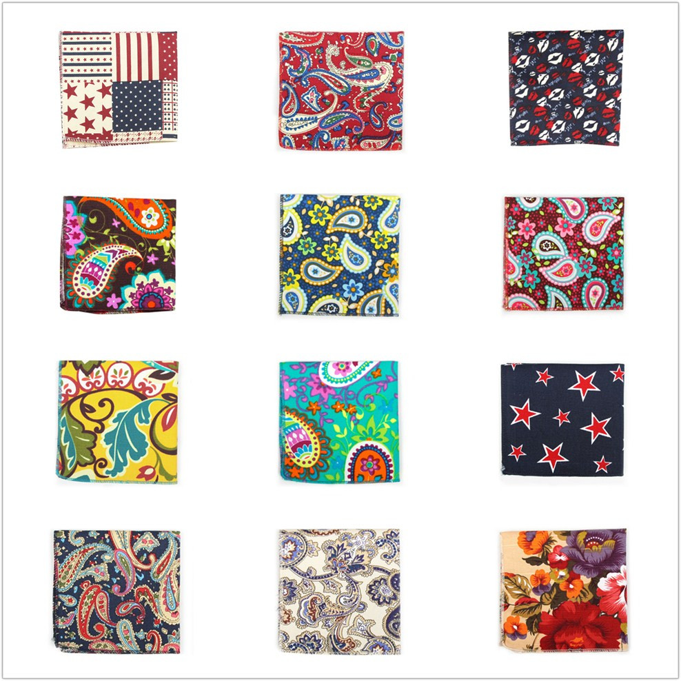 Floral Men Pocket Square Dress Cotton Handkerchief Mens Pocket Squares Hankerchief Hanky Towel