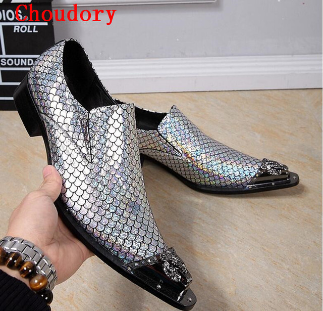 New Men Patent Leather Wedding Shoes Leather Formal Shoes Slip On Metallic Mens Pointed Toe Dress Shoes