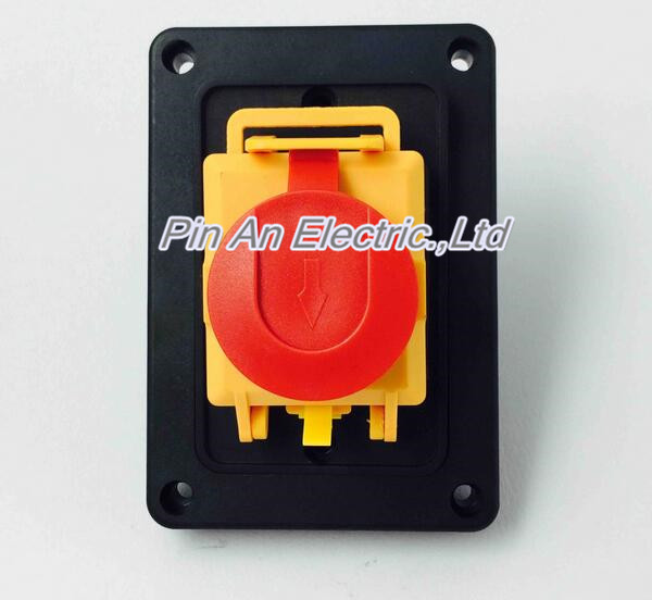 Electromagnetic switch 7 pins Emergency stop waterproof protective cover Push button switch 2 position YCZ4-B