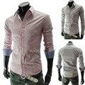 Весна 2 цвета немного шотландка мужские платье рубашки свободного покроя приталенный Fit длинная рукава социальной Camisa Masculina M-XXL