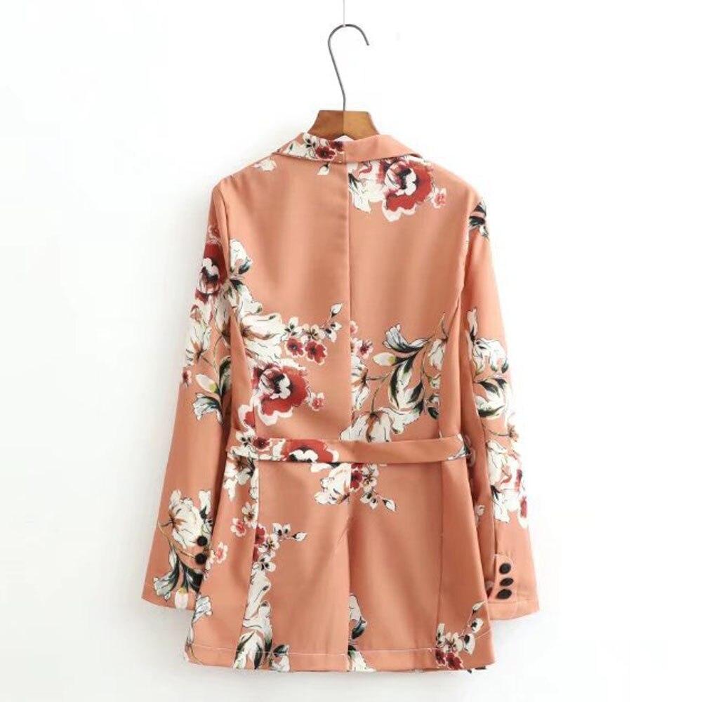 5cb64d80fa4 Ropa de trabajo Blazers Kimono estampado flor Floral fashes traje chaqueta  delgada manga larga OL Vintage mujeres Cardigan Tops ropa de calle marca en  ...
