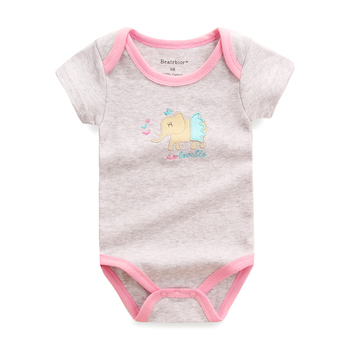 2017 Retail Baby Girl Bodysuit Newborn Baby Clothes Cartoon Prited Short Sleeve Cotton Baby Bodysuits Body Bebes Clothing