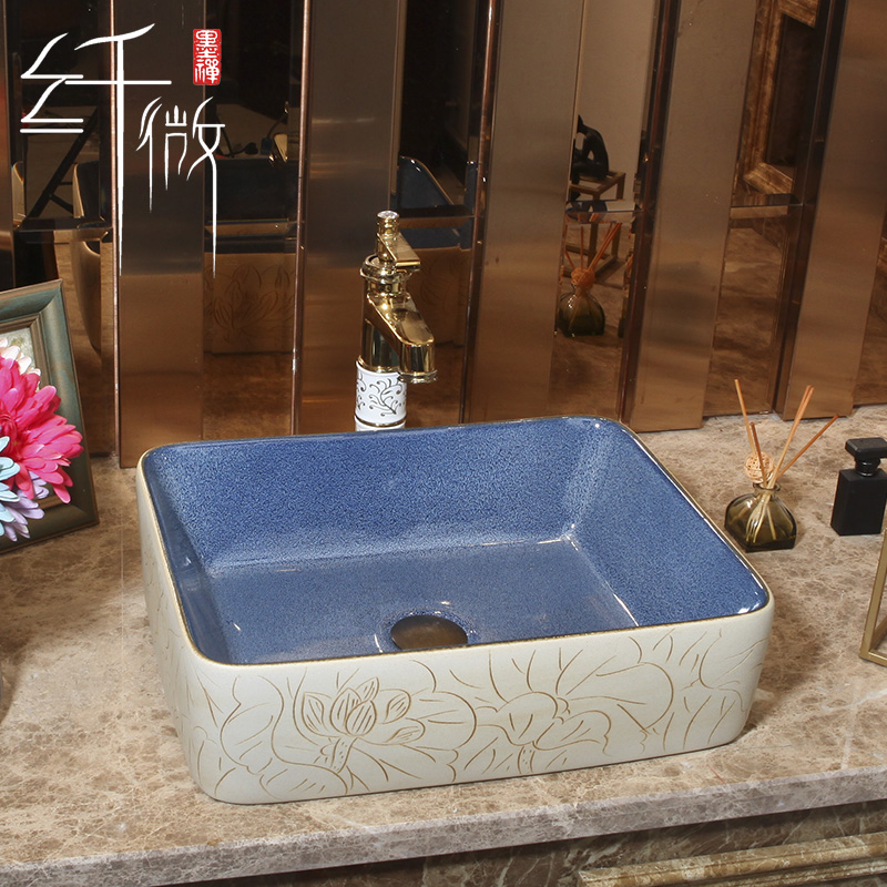 European style bathroom porcelain ceramic rectangular decoration sinkEuropean style bathroom porcelain ceramic rectangular decoration sink