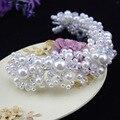 2 unids/lote nueva moda luxry perla densa tiara tiara nupcial elegante pelo accesorios hechos a mano Blanco rojo al por mayor