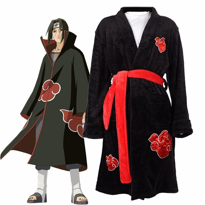 Anime Naruto Cosplay Bathrobe Akatsuki Uchiha Itachi Flannel Pajamas Adult Unisex Winter Warm Nightwear Sleepwear Kimono Robe