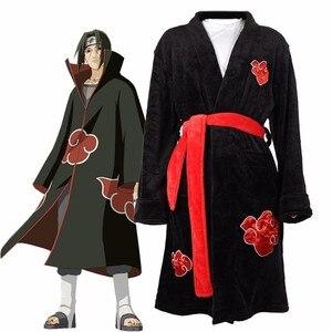 Anime Naruto Cosplay Bathrobe Akatsuki Uchiha Itachi Flannel Pajamas Adult Unisex Winter Warm Nightwear Sleepwear Kimono Robe(China)