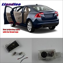 цена на Liandlee Car Door Welcome Light Shadow LED Laser Projector Logo For Volvo V60 2012~2014 Courtesy Doors Lights Accessories Parts