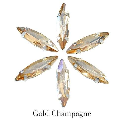 4x15 мм цветные хрустальные стразы в виде лошадиного глаза с серебристым когтем, маркиза, стразы в виде когтей для одежды, B1041 - Цвет: Gold champagne