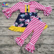 Moda crianças boutique roupas para meninas outono roupas de bebê remake manga longa crianças conjunto