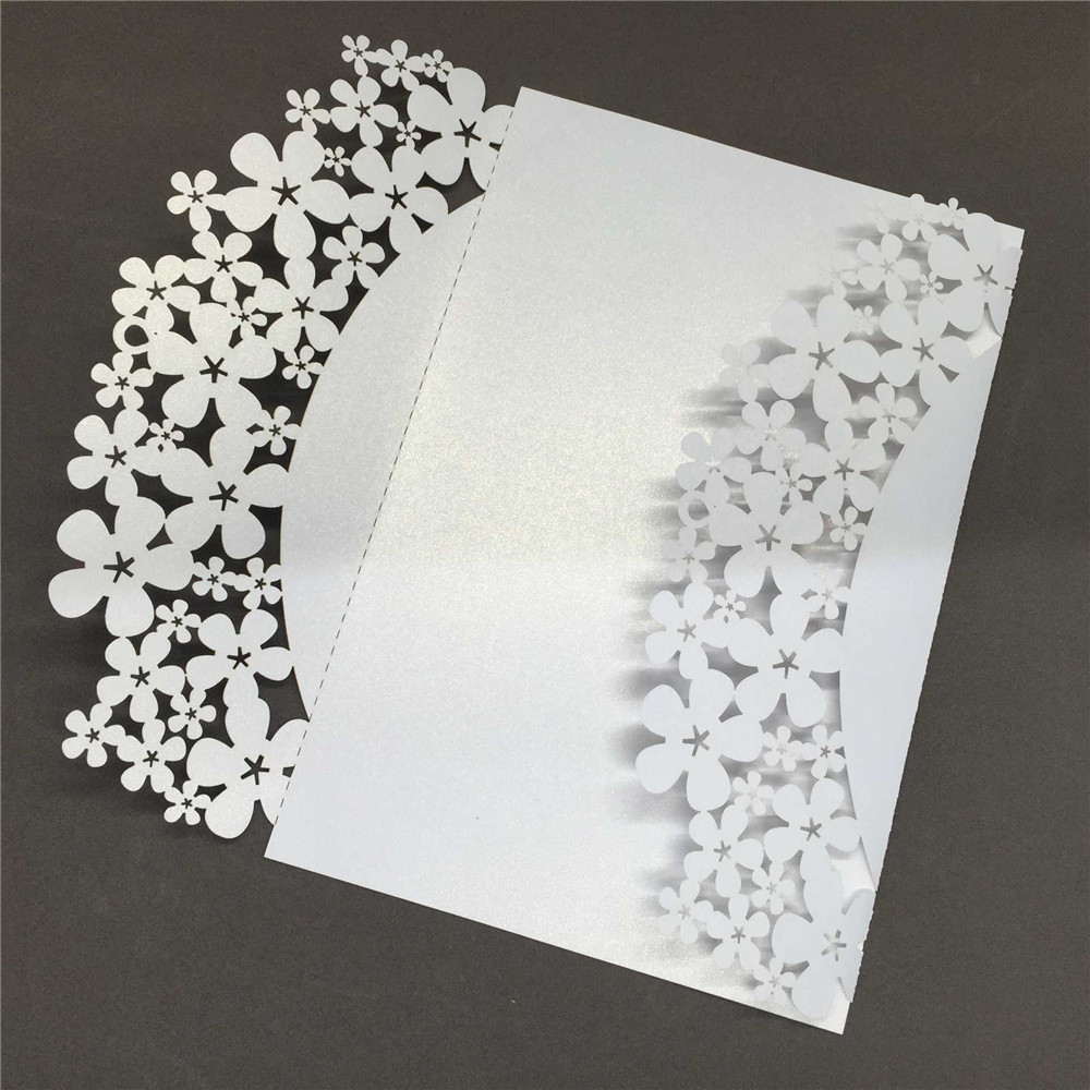 40 PCS Romantic Wedding Invitation Card Carved Flower Pattern Iridescent Paper Crafts Hollow Out Cards for Party Wedding Party 1 design laser cut white elegant pattern west cowboy style vintage wedding invitations card kit blank paper printing invitation