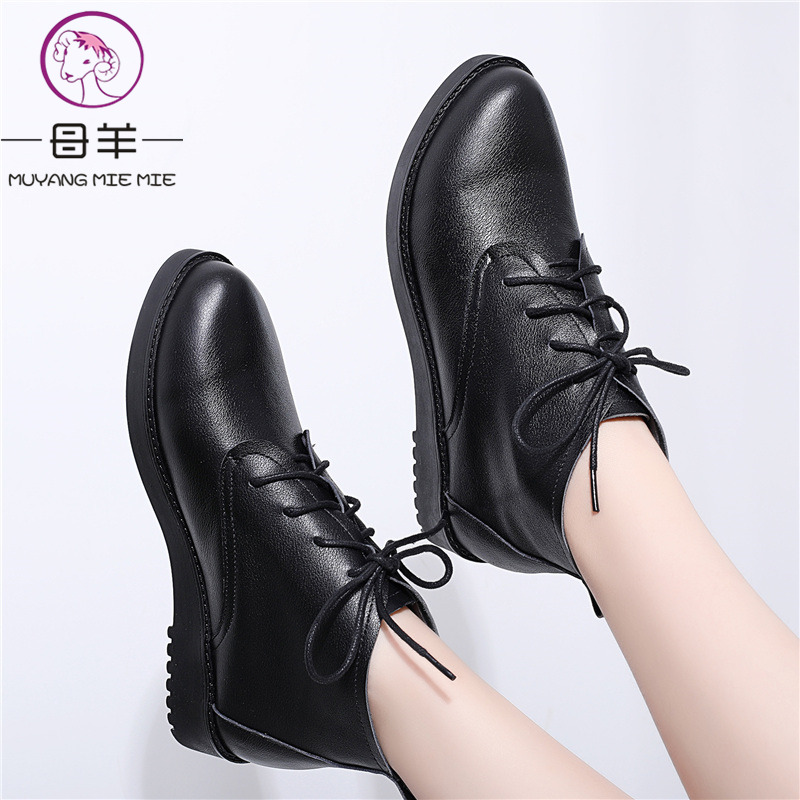 MUYANG Plus Size 34 44 Autumn Winter Women Boots Flats Heels Warm Genuine Leather Snow Boots