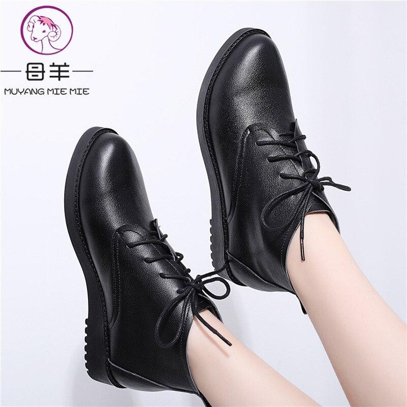 MUYANG Plus rozmiar 34 44 jesień buty damskie zimowe mieszkania obcasy ciepły śnieg prawdziwej skóry buty zimowe buty kobieta botki w Buty do kostki od Buty na AliExpress - 11.11_Double 11Singles' Day 1