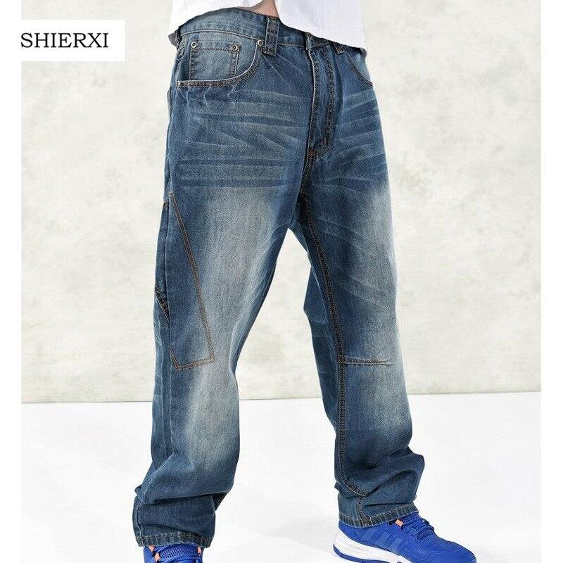 Hot Sale Big Size 30-46 Loose hip hop jeans Fashion European Men's high quality casual denim pants hot new large size jeans fashion loose jeans hip hop casual jeans wide leg jeans