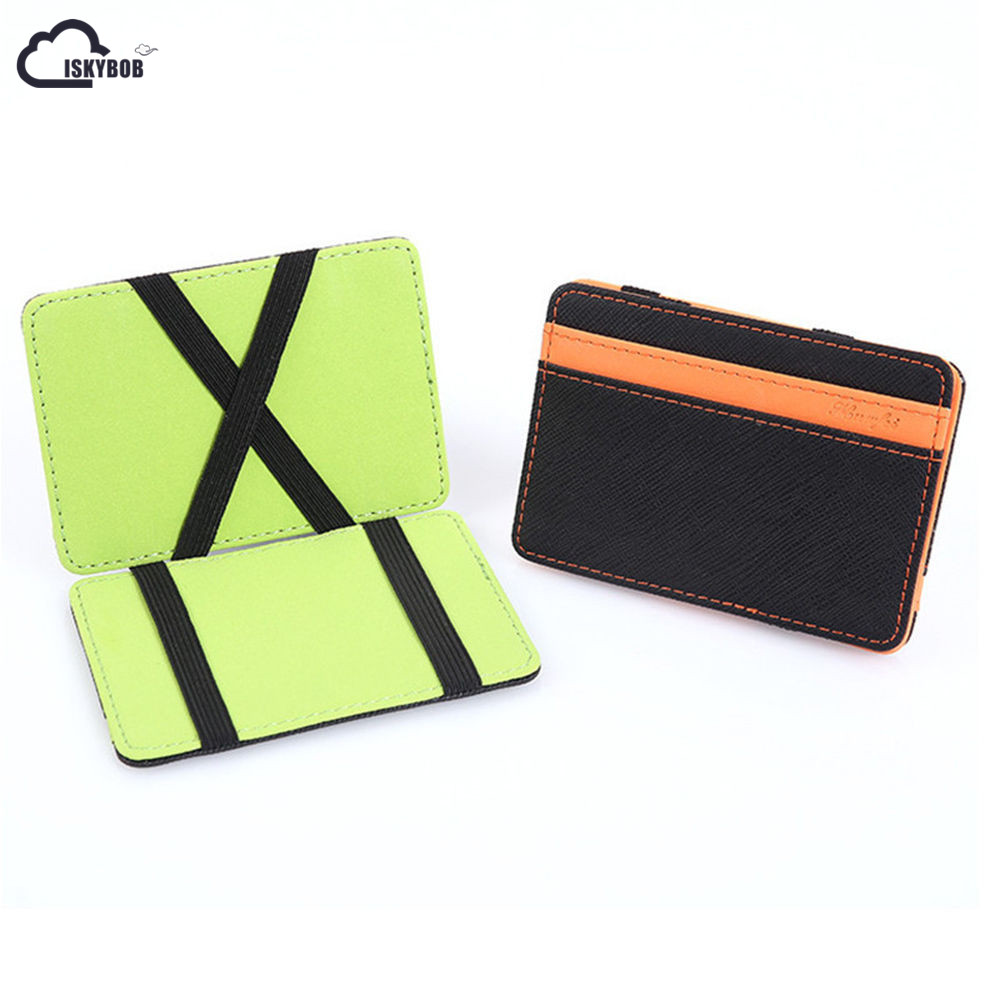 ISKYBOB Men Leather Magic Money Clips Wallet Para Carteras Hombre Card & ID Holder Clamp Money Case With Elastic Band Card Purse blue leather look skater skirt with elastic band