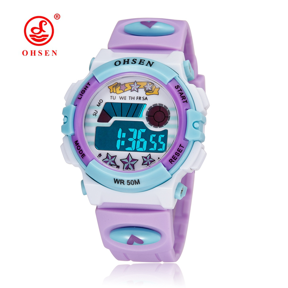 New OHSEN Digital LED Sport Kids Girl Wristwatch Cute Purple Rubber Strap Alarm Date Clocks Waterproof Cartoon Children Watches