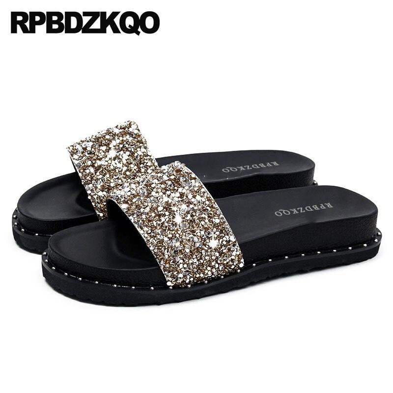 8288b72f74e306 Sandals Flat 11 Nice Silver Rivet Bling Crystal Luxury Shoes Women Designer  Gold Stud Plus Size Platform Slippers Diamond Slides