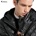 Inverno gours genuínos luvas de couro dos homens de pele de cabra preta luvas de condução luvas 2016 chegada nova marca de moda quente gsm028