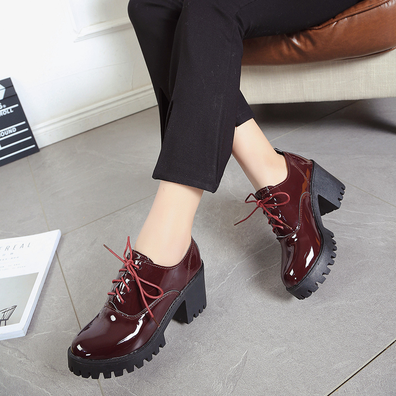 Spring Heels 2019 New Style English Dress Shoes For Girls With Thick And Slinky High Heels For Students Woman Shoes Fashion