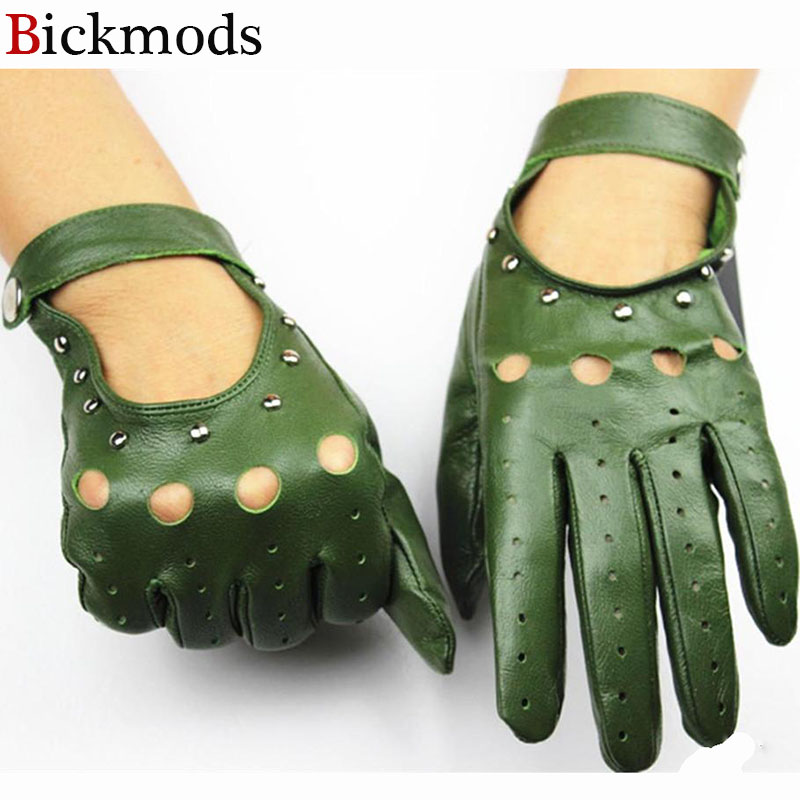Leather gloves women's unlined thin section fashion hollow rivet style spring and summer riding driving sheepskin driver gloves