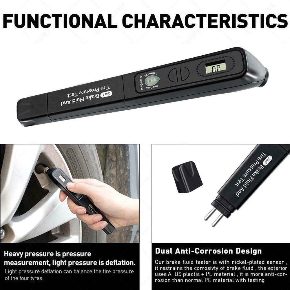 Image 3 - 2 In1 Brake Fluid Tester Pen Tire Pressure Guage Meter LCD Display 12V Auto Automotive Testing Tool Car Accessories