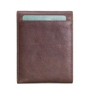 Image 2 - CONTACTS skóra Crazy Horse portfel męski z kieszonką na monety Hasp portfel poziomy Vintage portfel męski